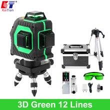 Nivel Láser KaiTian Verde 3D 12 Líneas se Cruzan Nivel Nivelación 360 Rotary Auto Función Slash con Trípode y Detector de Lazer niveles