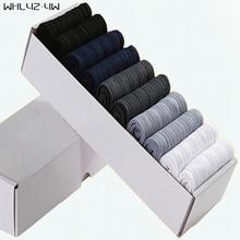 WHLYZ YW 10 pairs/lot/box Brand New Men Bamboo Fiber Socks High Quality business Casual Anti-Bacterial Man Long work cheap Socks