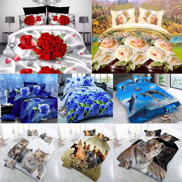 Sanding 3D Scenic Flowers Animal Bicycle Pattern Bedding Set Bed Sheets  Duvet Cover Bed Sheet Pillowcase