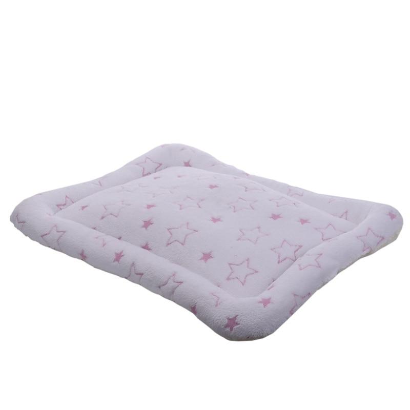 New!! 2 Colors Cute Stars Pet Dog Puppy Cat Mat Coral Fleece Star Print Soft Warm Pet Animal Sleep Bed Cushion Kennel 3 Sizes