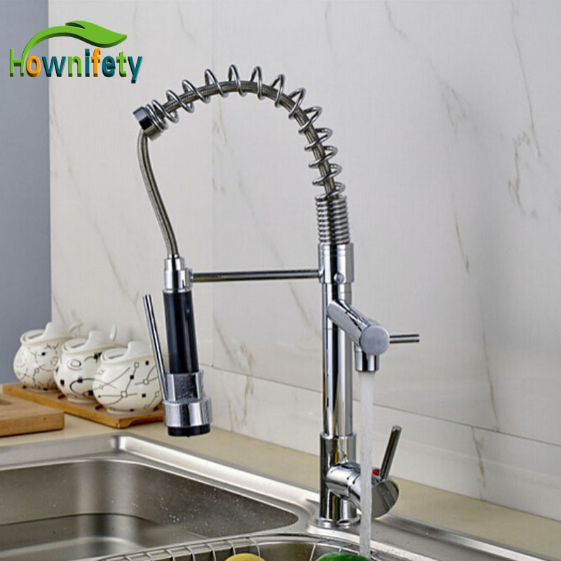 Chrome Polished Pull Down Spray Kitchen Single Handle Sink Faucet One Hole Mixer Tap Deck Mounted polished chrome deck mounted bathroom kitchen faucet tap single handle with brass soap dispenser