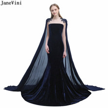 615e404bd JaneVini de Arabia Saudita de Madre de la novia vestidos con capa apliques  Cordón de terciopelo azul marino largo vestidos de no.