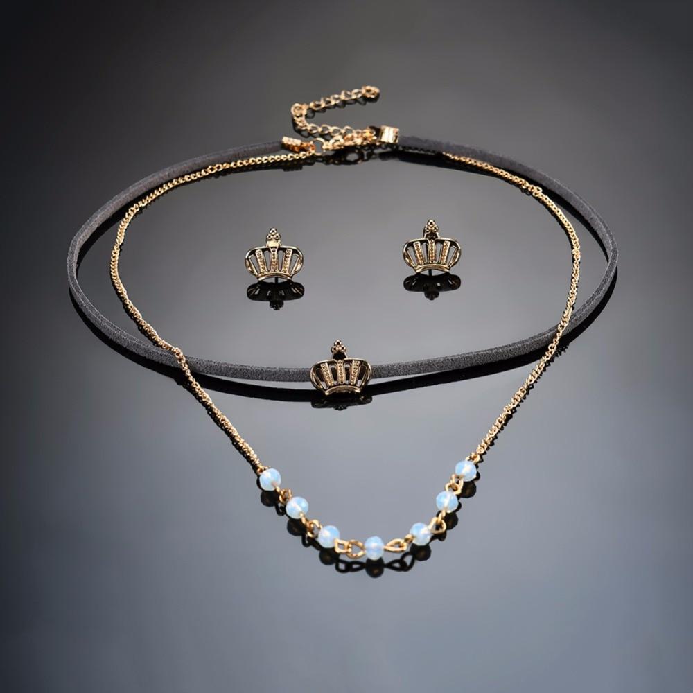 1 Set Kalung Anting Wanita Model Bunga Kristal Besar Gaya Barat Perhiasan Ejspace Fashion Mahkota Emas Choker 2017 Bead Jewelry Untuk