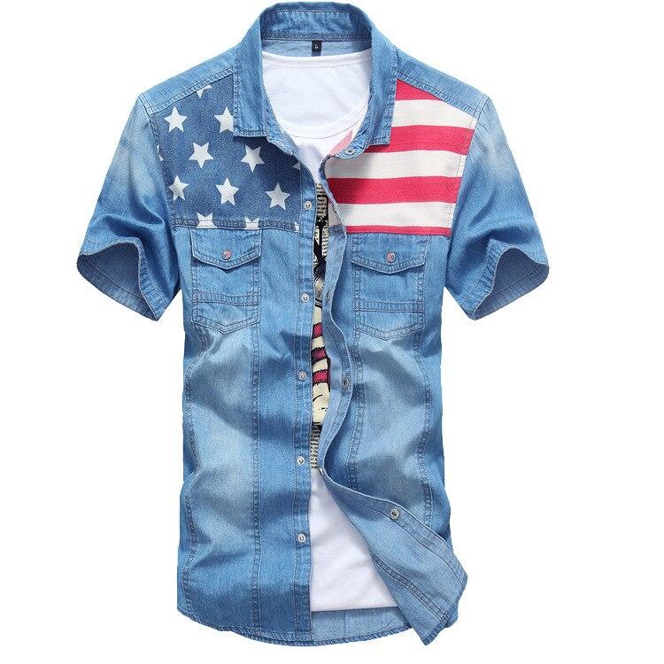 Men Stylish Button Down USA Flag Print Short Sleeve Denim Shirt