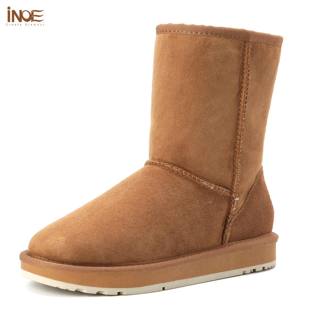 INOE Basic Winter Snow Boots for Women Sheepskin Suede Leather Mid-calf Slip on Shearling Fur Boots Rubber Sole Flats Solid Grey