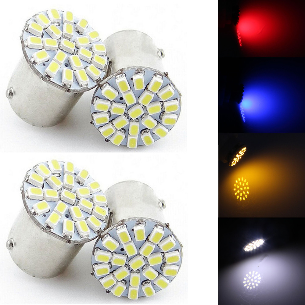 CYAN SOIL BAY 4PCS BA15S P21W 1156 BAU15S PY21W 3014 22-SMD LED Tail Signal Light Car Lamp Blue Rear Bulb Red White Amber cyan soil bay yellow amber 9006 hb4 63 smd 66 smd car driving fog led bulb lamp lens bright than 33 smd light white red ice blue
