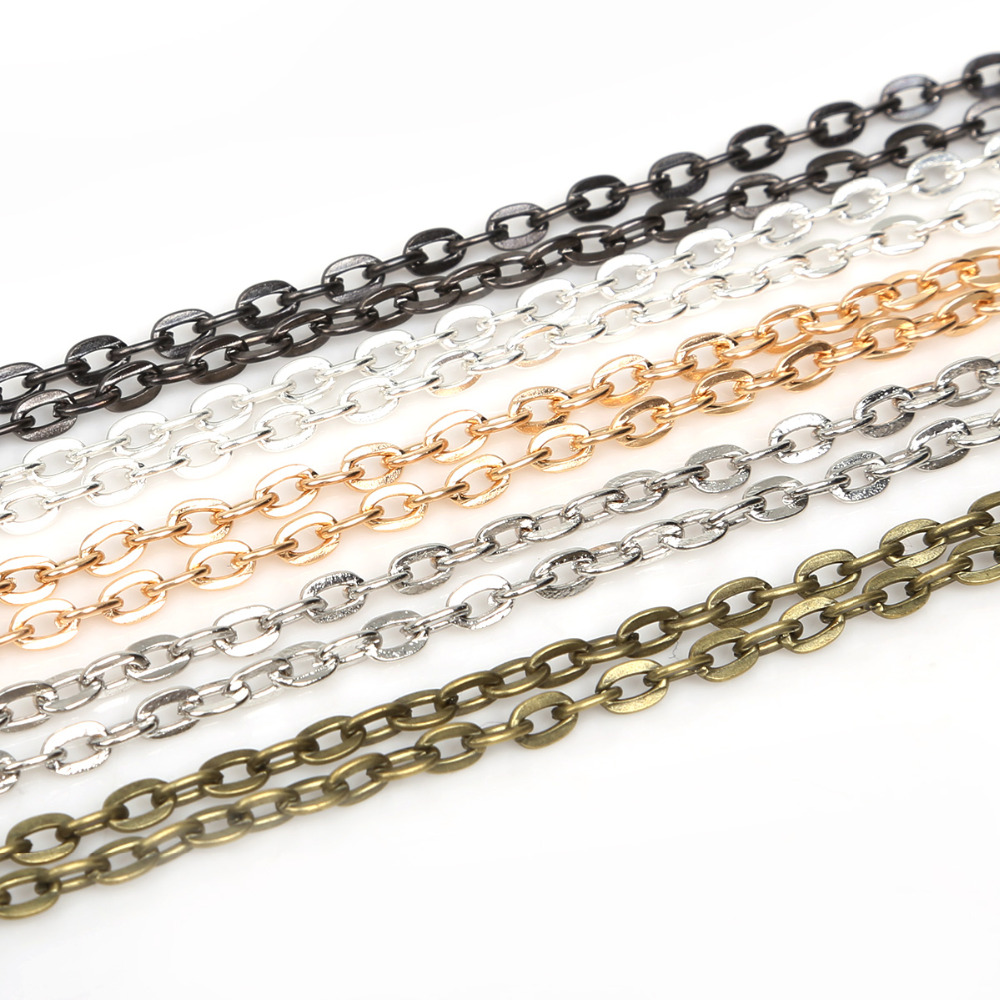 Металлическая открытая звеньевая цепь, 5 м/лот, 3 мм, 4 мм, 5 мм, соответствует стандартам, латунная фурнитура для изготовления ювелирных издел...