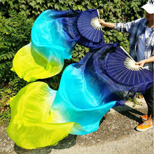 ใหม่เด็กผู้หญิง 1 คู่ 100% ผ้าไหมยาวBelly DanceพัดลมVeils Elegant Gradientสีโปรโมชั่นราคาถูก 120 ซม.150 ซม.180 ซม.