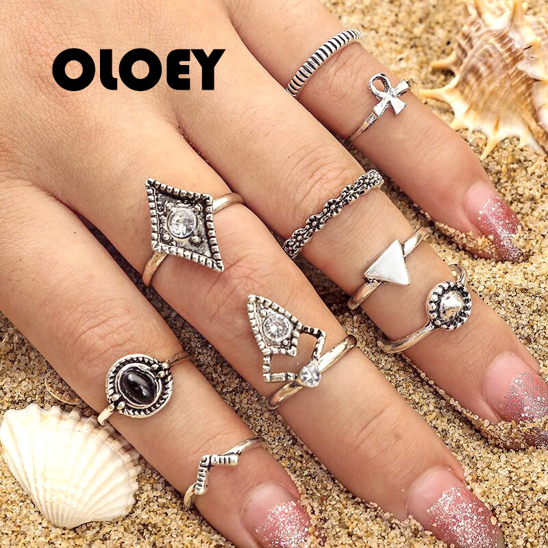 OLOEY 9Pcs/set Cross Triangle Geometric Crystal Zircon Shinny Vintage Finger Ring Charm Unique Knuckle Rings Jewelry Accessories