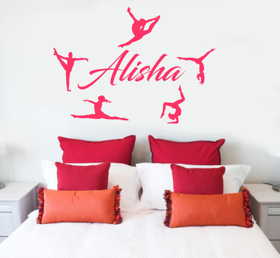 Girls name decal gymnast wall decal gymnastics vinyl sticker free shipping personalized name gymnasts vinyl wall decal custom vinyl wall decals gymnastics amipublicfo Image collections