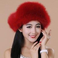 Trasporto Libero 2015 new fashion lady inverno genuine fox cappello di pelliccia orecchio protettore delle donne caldo termico cap migliore Di Natale regalo