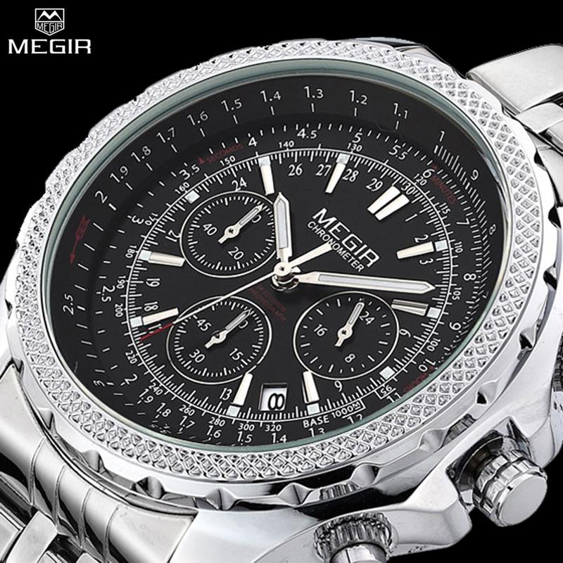 Prix pour Hommes 24 Heures Système Montres Marque MEGIR Montres Hommes Mode Casual Horloge En Acier Plein Analogique Quartz Chronographe Montres