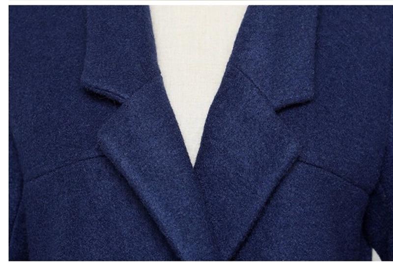 Femme Coréenne Élégantes Manteaux Blue Automne Taille Manteau Veste Dames Dark Ja298 Mince 2016 Laine Grande Nouvelle Bleu De Printemps Pardessus wYRCCXq