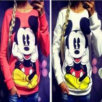 Nieuw! casual Gedrukt Vrouwen Sweatshirt Losse Micky Mouse Cartoon hoodies hoodie Sport Pak vrouwen Kostuums trainingspakken truien