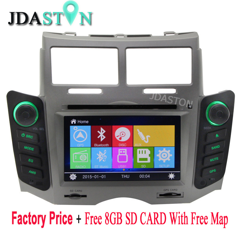 JDASTON Car DVD Player For TOYOTA YARIS 2005 2006 2007 2008 2009 2010 2011 Navigation GPS Audio Radio multimedia Stereo Headunit цена