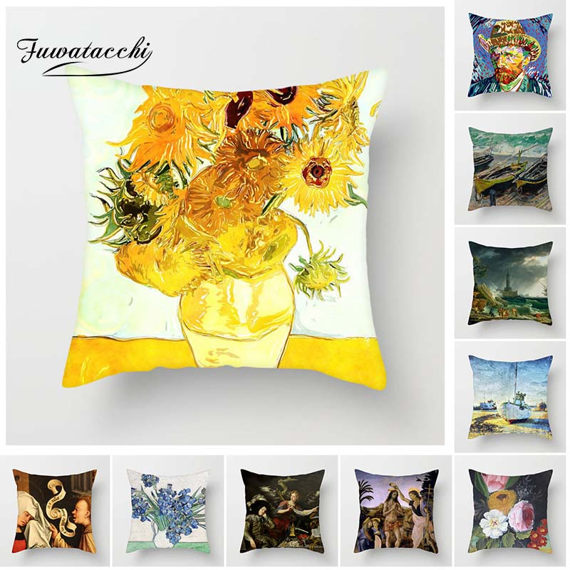 Fuwatacchi Van Gogh Painting Cushion Cover Sunflower Pillow Cover Decor Sofa Bedroom Chair Decoration Square Linen