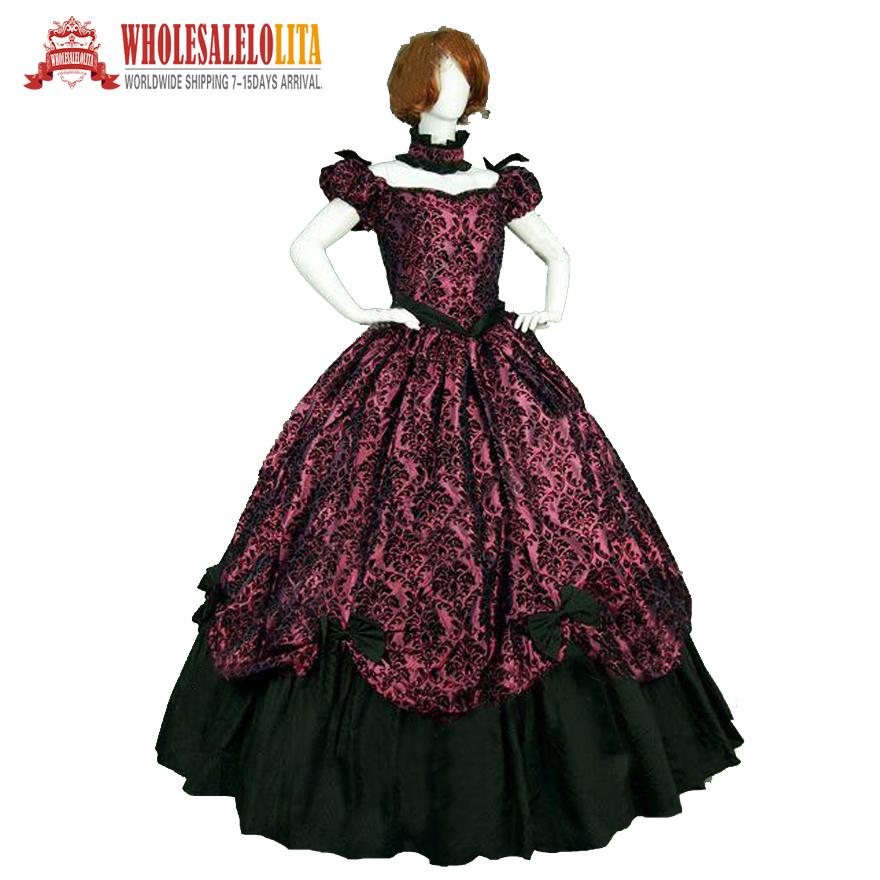On sale 19 century Vintage Costumes Victorian Gothic Red Printing Dress Civil  War Southern Belle 34e0bf3431e3