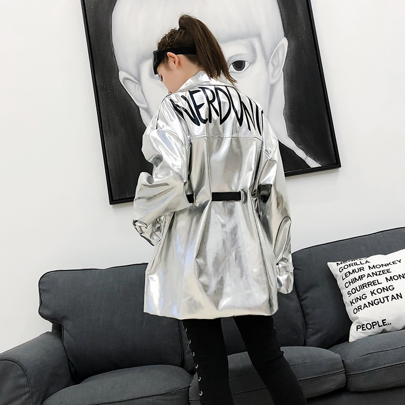 Fashion Loose Waist Belt PU Leather Long Jacket Women Spring New Thailand Tide brand Back Letter Printing Coats