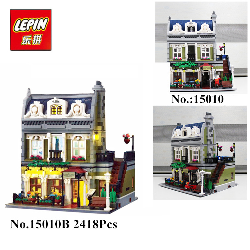 IN STOCK 2418PCS DHL Lepin 15010  15010B Expert City Street Parisian Restaurant Model Building Kits  Block Toy Compatible 10243 new lepin 15010 expert city street parisian restaurant model building kits blocks funny children toys compatible with 10243 gift