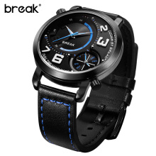 BREAK 2016 Men Top Luxury Brand Original Design Genuine Leather Strap Double Movement Fashion Casual Dress Quartz Sports Watches