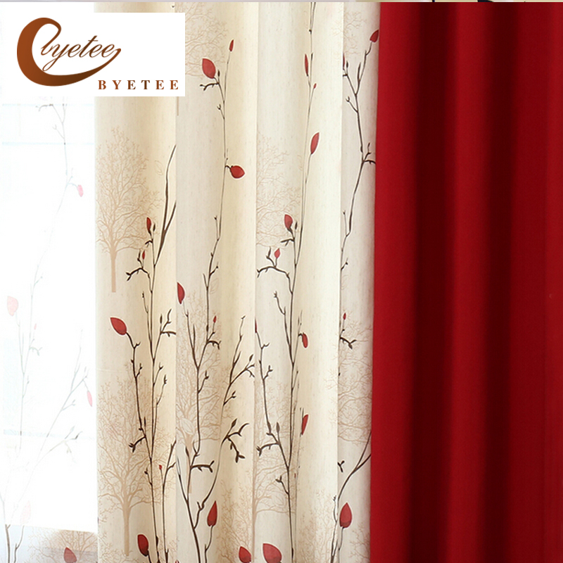 {byetee} Faux Cotton Linen Curtain Modern Rustic Red Quality Stitching Living Room Curtains Fabrics Kitchen Door Curtains Drapes