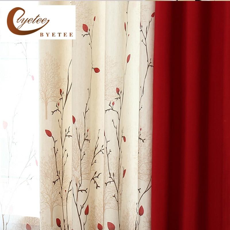{byetee} Cortina de lino de algodón de imitación Moderno Rústico Rojo Calidad Costura Cortinas Telas de la puerta de la cocina Cortinas