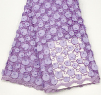3D Flower High Quality Lace Fabric, African Lace Fabric purple, Applique Embroidery Lace Fabric For Dresses