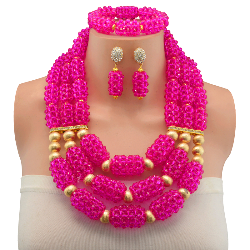 Fuchsia African Beads Jewelry Set 2017 Nigerian Wedding African Beads for Brides Party Bridal Jewelry Set Free Shipping Fuchsia African Beads Jewelry Set 2017 Nigerian Wedding African Beads for Brides Party Bridal Jewelry Set Free Shipping