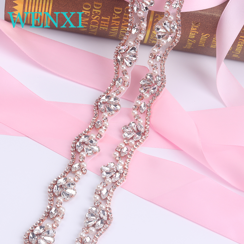10 YARDS WENXI Wholesale Crystal Rhinestone Trim With Pearls Beaded Rhinestone font b Bridal b