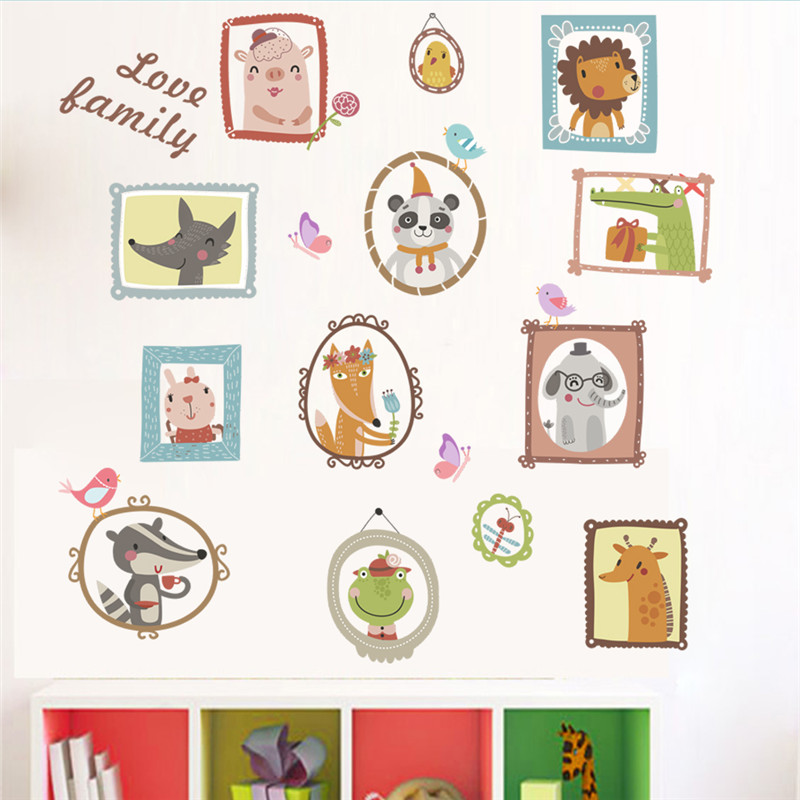 Lovely Animal Photo Frame Wall Stickers for Kids Room Home ...