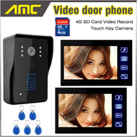 7 Inch LCD Screen Video Record Video Door Phone Doorbell Video Intercom recording RFID Card Unlock 4G SD Card recording