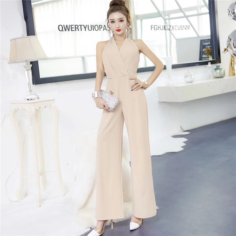 New Jumpsuit Women Clubwear V-Neck Playsuit Sleeveless Office lady  Bodycon Party Romper Female Summer Backless