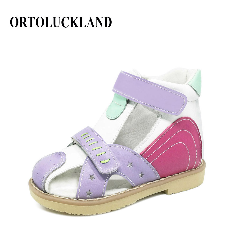 Ortoluckland Toddler Girl Sandals Children New Summer Shoes Solid Genuine Leather Orthopedic Shoes Baby Girls Closed Toe Sandals