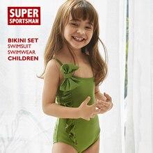 2d19aefc006a3 Kinder Sommer Strand Bademode Bikinis Set Baby Mädchen Bogen Nette Badeanzug  Kinder Sport Tragen Rüsche Badeanzug Schwimmen Biqu.