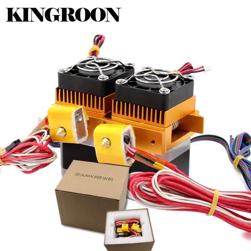 MK8 Dual Head Extruder 12V40W 3D Printers Parts Nozzle 0.3mm 0.4mm Double Hotend Extrusion 1.75mm Filament with Motor Fan Part 3d printers parts mk8 extruder head j head hotend 0 4mm nozzle kit 1 75mm filament extrusion mk8 extruder kit