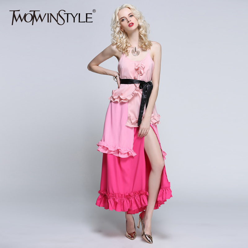 TWOTWINSTYLE Ruffles Patchwork Dress Female Off Shoulder Tunic High Waist Split Sexy Long Party Dresses 2019