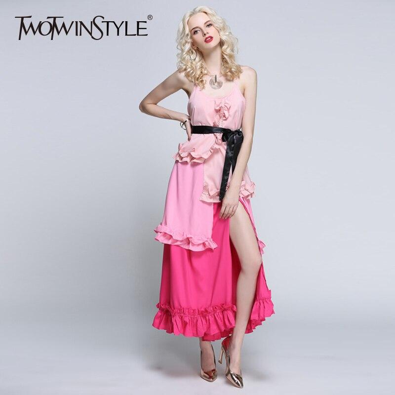 TWOTWINSTYLE Ruffles Patchwork vestido femenino de hombro túnica ...