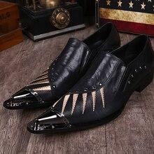 Novos Homens Da Moda Rebite Preto Sapatos de Couro Genuíno Zapatos Mujer Sapatos de Grife Apontou Toe Festa Bordado 38-46