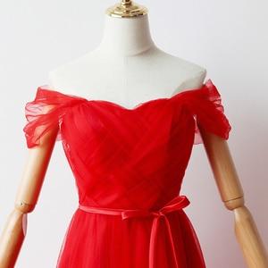 Image 4 - Cor vermelha Revestimento Interno Curto Vestidos de Dama de honra Vestidos De Mulher para a Festa de Casamento e Vestido Maxi
