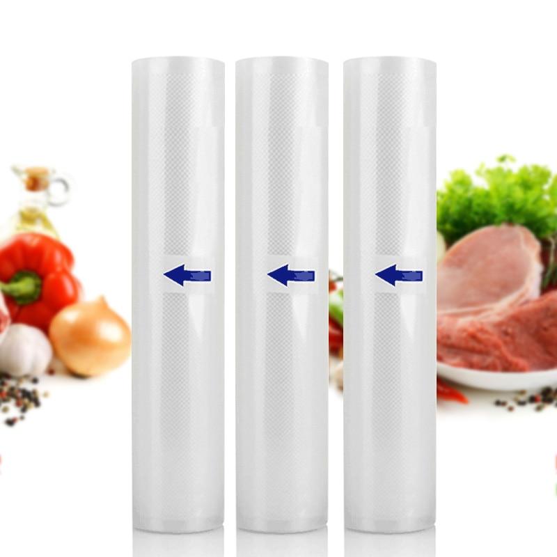 3 Rolls Melhor Aferidor do Vácuo De Alimentos Sacos de Sacos de Armazenamento de Alimentos Cozinha 12 15 20 25 cm x 500 cm Para aferidor Do vácuo Máquina de Embalagem