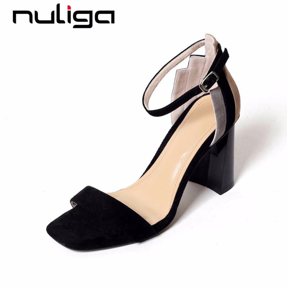 Nuliga brand shoes buckle strap natural leather peep toe med heels mixed colors simple design dress shopping woman sandals L73
