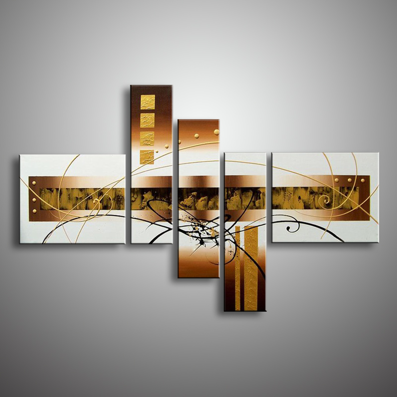 Oil Painting Hand Painted 5 Panel Set Abstract Modern Line Flower Wall Art Canvas Home Decoration Picture For Living Room Sale