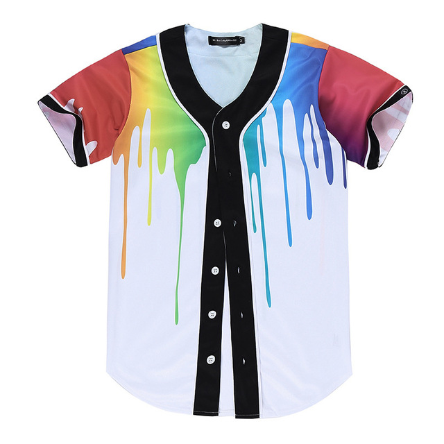 2d6a77aaa Funny button up baseball shirts unisex arc bottom print short sleeve shirt  baseball team jersey jpg