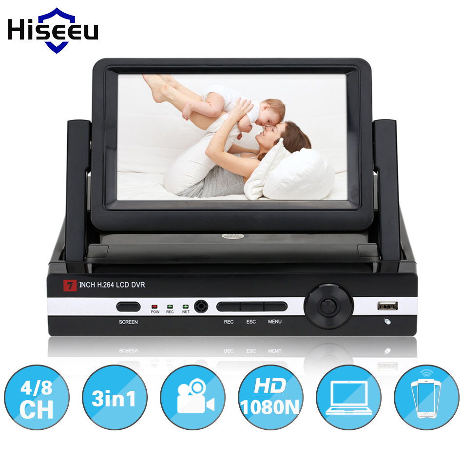 Hiseeu CCTV 4/8 Channel 1080N Digital Video Recorder with 7 LCD Screen Hybrid DVR HVR NVR 4CH Home Security System P2P H.264 аксессуар чехол skinbox silicone slide 5 0 gold t s u5 0 003