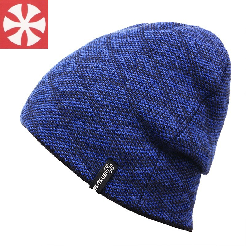 CaiZhongHai / B68 Thick Rhombic lattice Reversible Winter Hats For Women Men Beanie Knit Hats Warm Skullies Beanie Caps