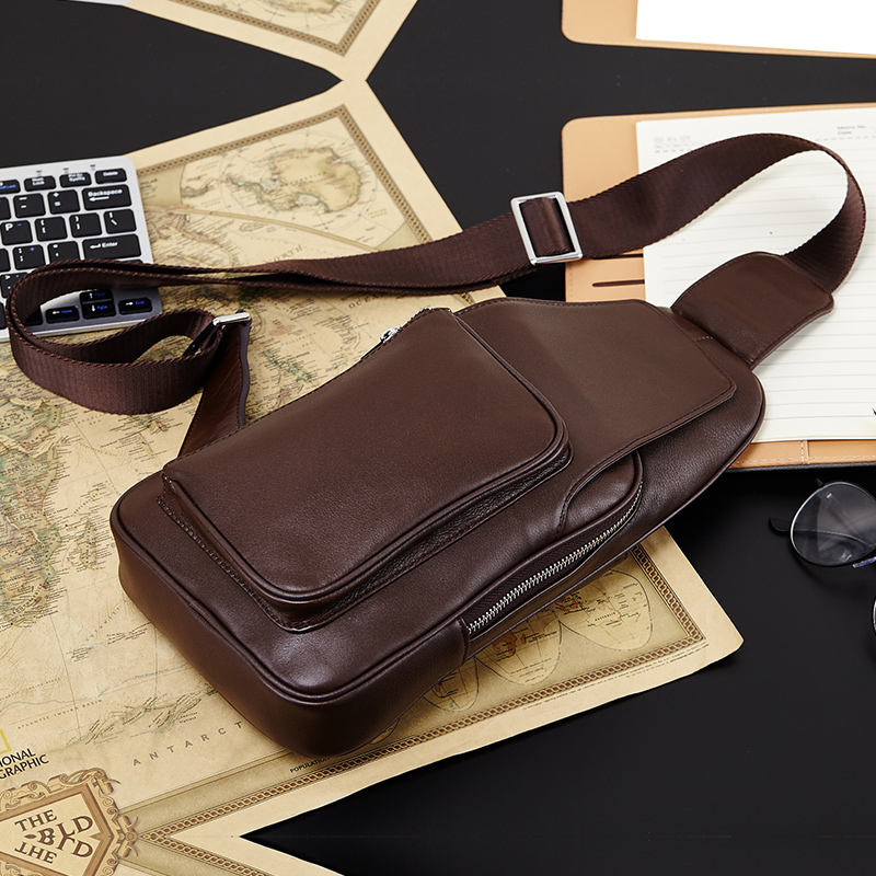 Fashion Genuine Leather Crossbody Bags men casual messenger bag Chest bags Brand Designer Male Shoulder Bag