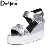DoraTasia Brand Design Patent Leather Wedges High Heels Hook Loop Platform Crystal Shoes Woman Casual Summer