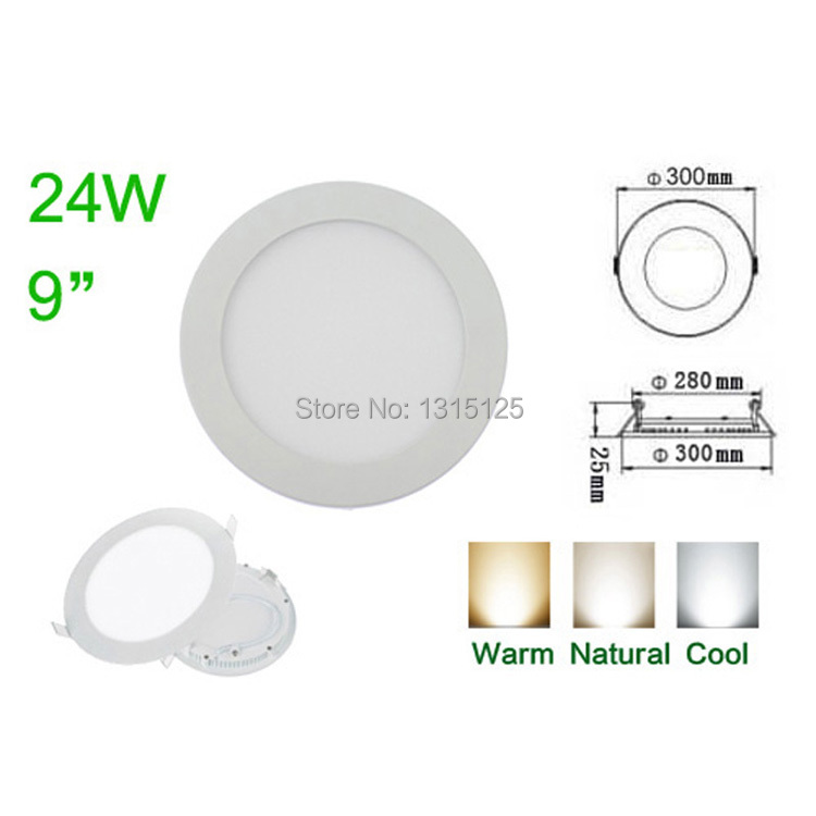 Ulthra Thin 24w Led Panel Lights round led Recessed Ceiling Light Lamp SMD 2835 AC85-265V for Home Living Room Illumination