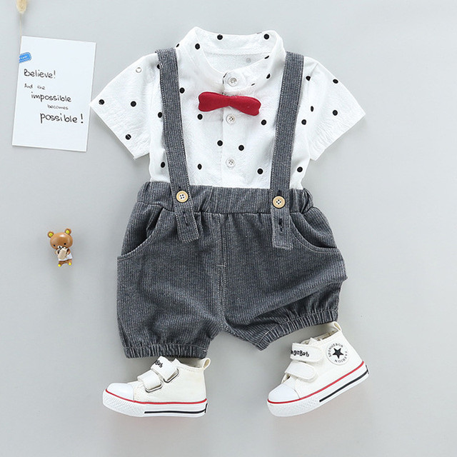 Newborn Bow Style Baby Boys clothing set 2pcs t-shirt + bib pants 3