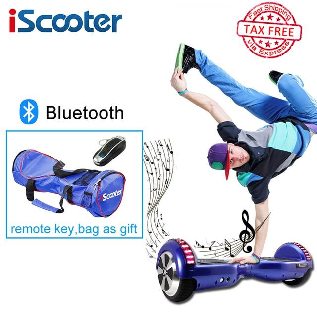Iscooter hoverboard 6.5 дюймов 2 колеса разумный рулевого колеса электрический skateboardself баланс скутер с bluetooth рождественский подарок